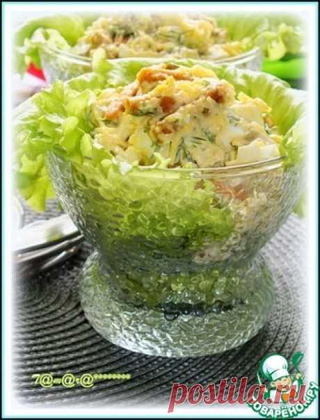 Сырный салат с сухариками - кулинарный рецепт