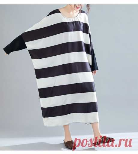 Black and White Striped Spliced Black Female Lady Long Sleeve Dress Sl - idetsnkf