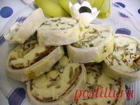 Фаршированные кальмары с сыром и грибами - Простые рецепты Овкусе.ру