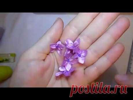 ✿طريقة عمل زهور مصغرة من شرائط الساتان✿DIY satin ribbon rose flowers25✿