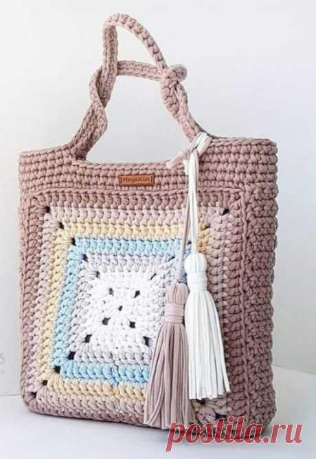 Стильная сумочка из трикотажной пряжи из категории Интересные идеи – Вязаные идеи, идеи для вязания