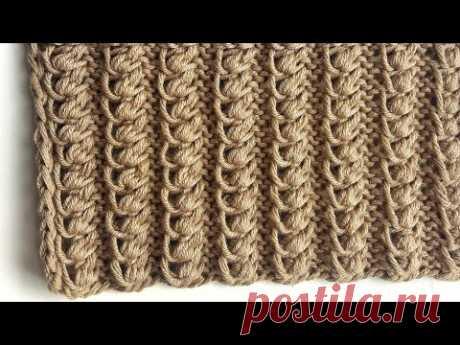 Интересный объемный узор спицами для вязания шапок, снудов, свитеров / Легкий узор