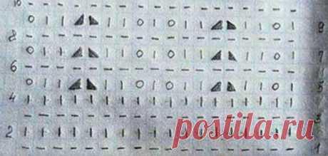 Схема вязания объемного узора спицами