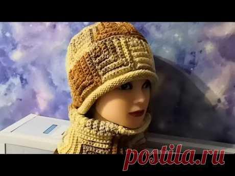 ШАПКА в стиле ПЭЧВОРК  осень-зима. Комплект крючком.