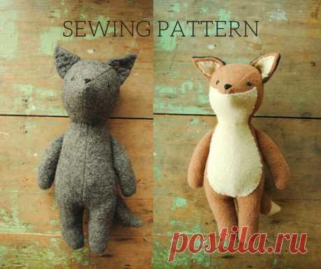 Fox and wolf stuffed animal doll PDF sewing pattern / soft toy   Etsy