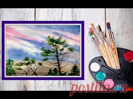 Как нарисовать небо и деревья акварелью! #Dari_Art