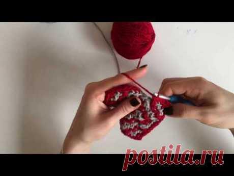 Мозаика из центра: квадратный двухцветный мотив крючком/ Mosaic crochet square motive
