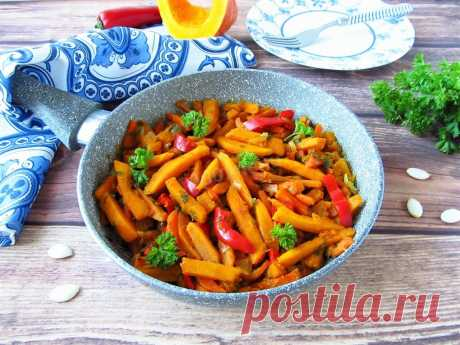 Тыква на сковороде с овощами рецепт с фото пошагово - 1000.menu