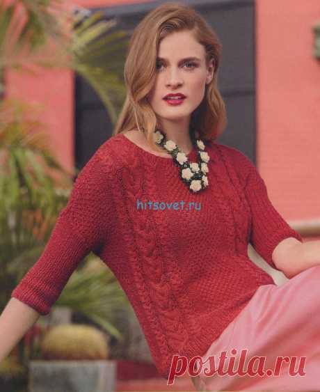 Женский красный пуловер спицами - Хитсовет