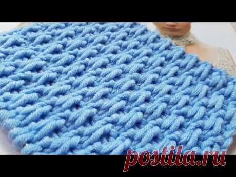Вяжем эффектный плетёный узор спицами 🍓 knitting pattern. - YouTube