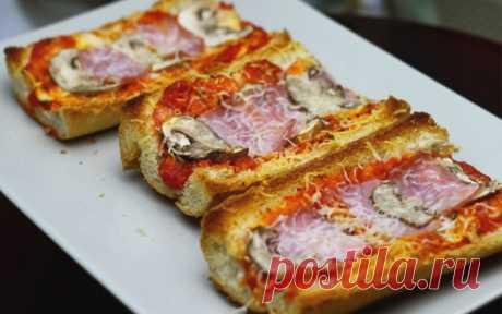 Быстрая пицца на багете за 15 минут - Кулинарные Рецепты