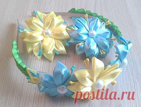 Мастер-класс: ободок канзаши с цветами лилии из атласных лент