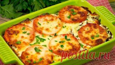 Картошечка, запеченная с мясом и помидорами под сырной шубкой - любимый ужи