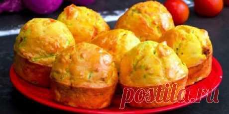 Пеку вкуснейшие кексы из одного кабачка, пары помидор и яиц: 20 минут и готово
