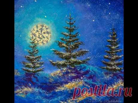Рисуем простой Новогодний и Рождественский пейзаж акрилом - художник Валерий Рыбаков.