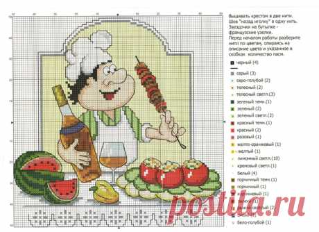 Selection of schemes for embroidery cheerful cooks