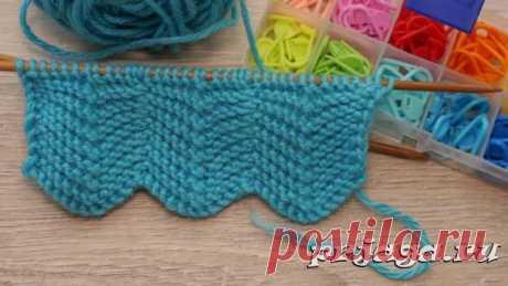 Двухсторонний «Зигзаг» спицами для шарфа