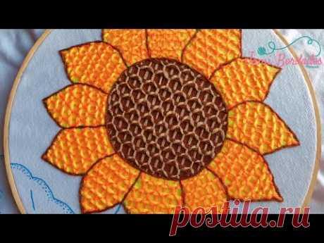 117. Bordado Fantasía Girasol 2 / Hand Embroidery Sunflower 🌻 with Fantasy Stitch