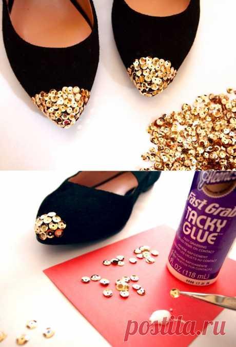 Нос с пайетками (DIY) / Обувь / Модный сайт о стильной переделке одежды и интерьера