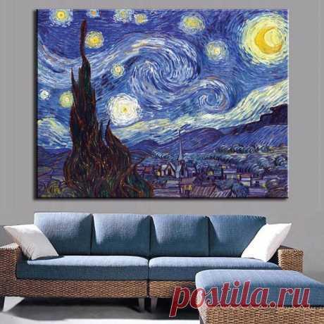 """Пейзаж маслом на холсте: """"Звездная ночь"""" Ван Гога (AliExpress)"""