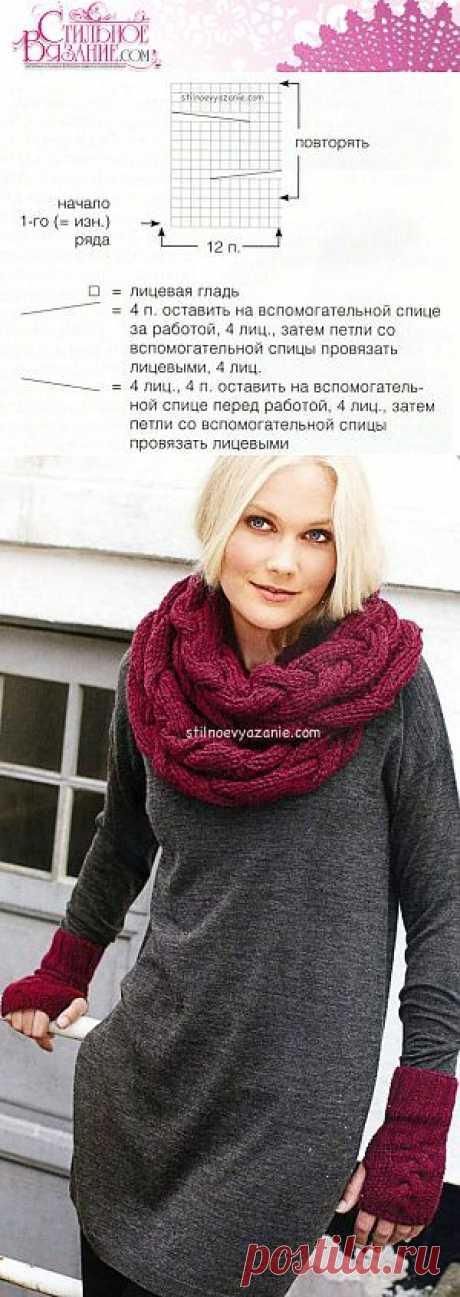 Перчатки без пальцев и объемный шарф связанные спицами / Стильное вязание
