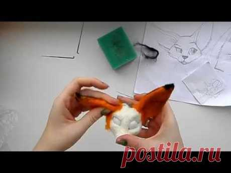 Сухое валяние: Мастер класс валяная игрушка лисенок, 2 этап обшивка цветной шерстью