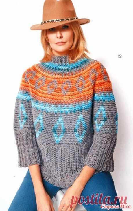 Жаккардовый свитер оверсайз с круглой кокеткой - Все в ажуре... (вязание крючком) - Страна Мам
