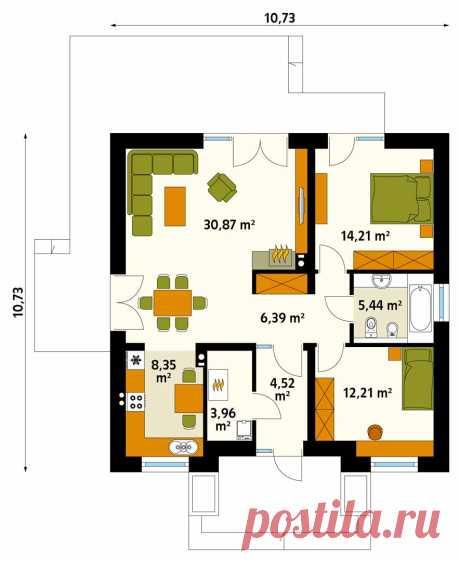 Проект бюджетного одноэтажного дома без гаража ELKA 2 купить в Минске на Territoria.by