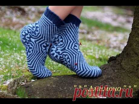 Носочки море Эгейское -- Amimon Maritime Socks by Olya Amimono