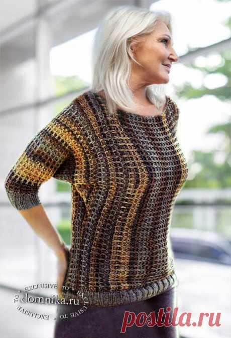 Модный вязаный пуловер для женщин 50-60 лет - одежда 52 размера для пожилых