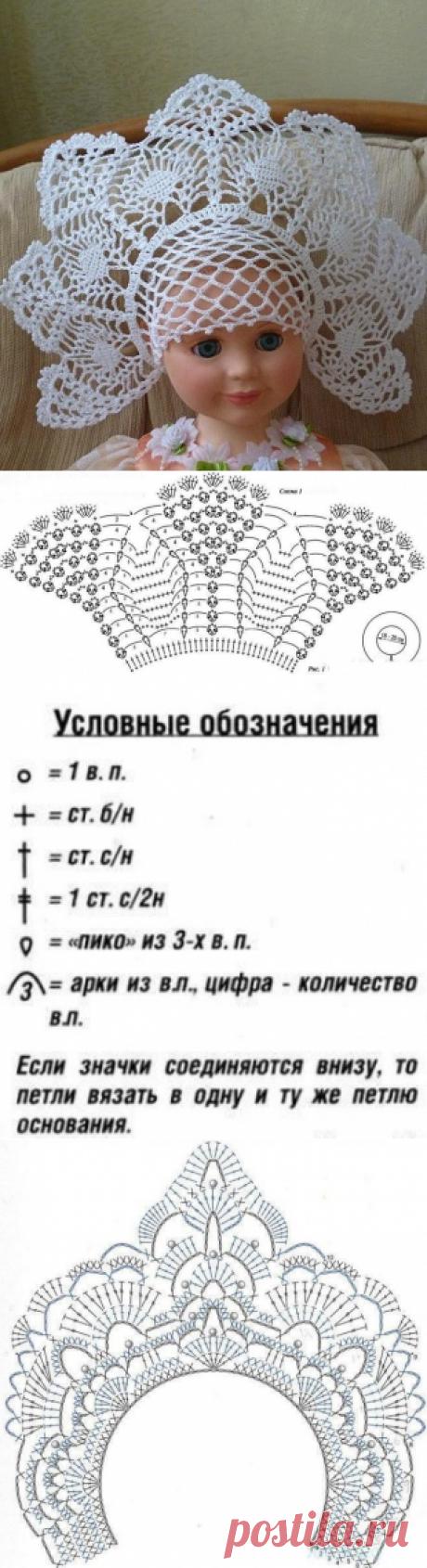Схема короны крючком
