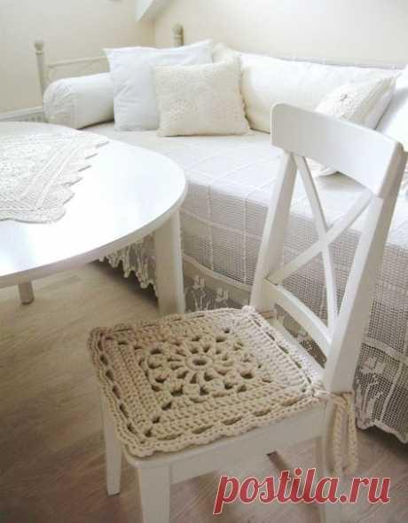 Красивая сидушка для уютного дома из категории Интересные идеи – Вязаные идеи, идеи для вязания