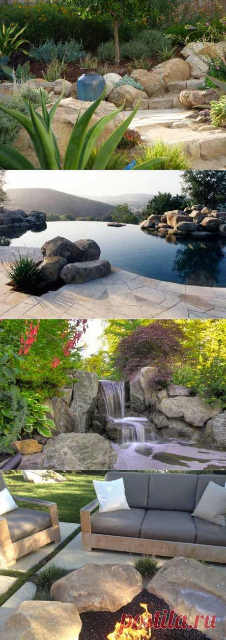Как использовать большие камни в дизайне ландшафта | Дом-Цветник