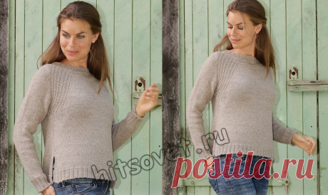 Пуловер реглан сверху спицами - Хитсовет Модный женский пуловер реглан, связанный сверху вниз спицами со схемами и бесплатным пошаговым описанием вязания.