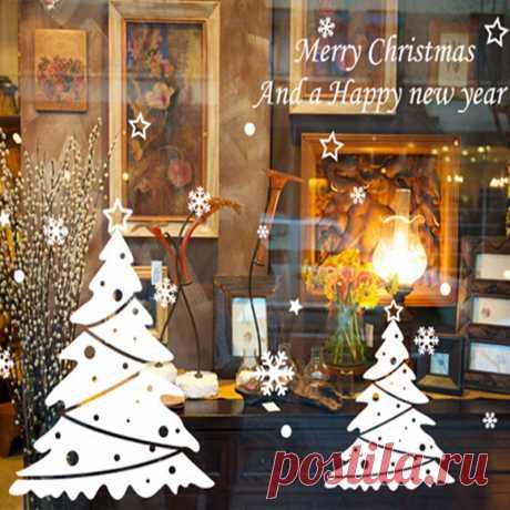 Happy новогоднее; рождественское Снежинка Рождественская елка стены витрины наклейки стекло магазин чая водонепроницаемый наклейки купить на AliExpress