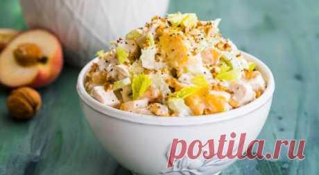 Салат из курицы с персиками. Пошаговый рецепт с фото на Gastronom.ru