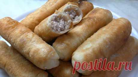 Жаренные трубочки с любым мясом по вкусу (видео описание приготовления)
