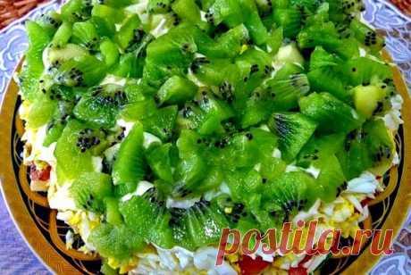 Изумрудная россыпь— салат с киви и курицей « Рецепты салатов