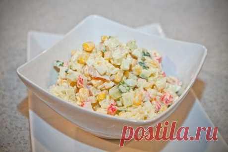 Салат с крабовыми палочками и кукурузой классический рецепт с фото | Cookingfood.com.ua