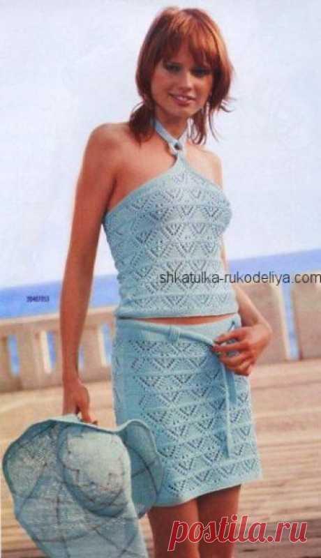 Комплект юбка и топ спицами описание. Летний женский комплект спицами | Шкатулка рукоделия