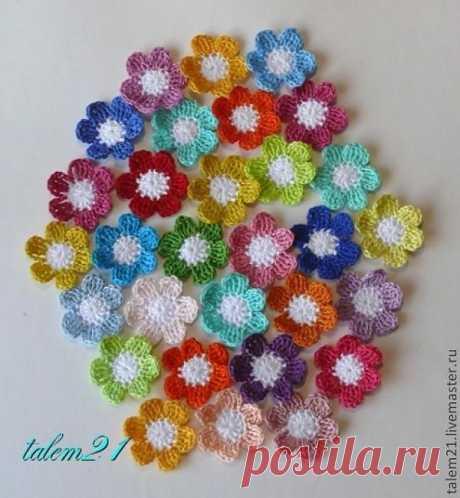 Цветочки из остатков пряжи - Ярмарка Мастеров - ручная работа, handmade