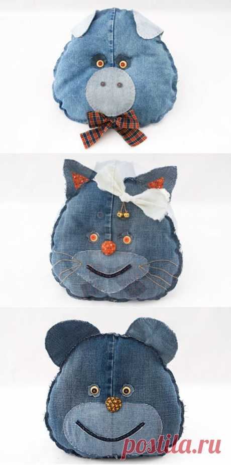 Master class: children's toys pillows from old jeans