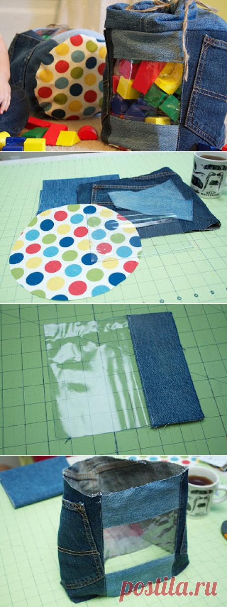 Ручной Мэг K: Up-циклическое Jeans игрушек хранения