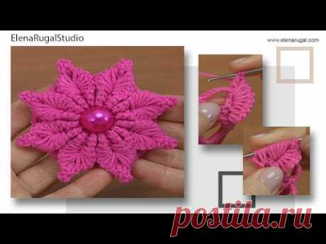 Вязание крючком цветка с нежными 3Д лепестками