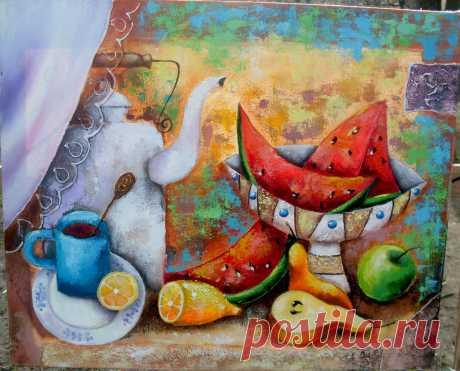Натюрморт с арбузом. Холст, масло. Автор Yulija Ionova ( Alladie ) ( JU-Lio toys &....)