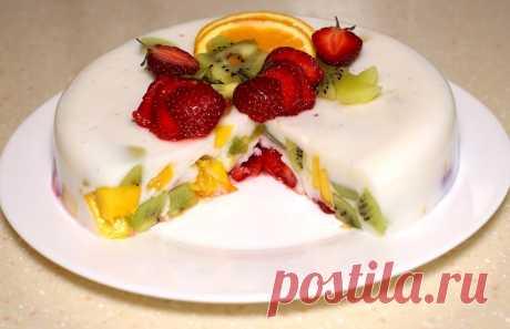 Самый фруктовый желейный торт без выпечки быстро и легко! Ингредиенты: Фрукты 500 гр Вода 300 мл Агар-агар 8 гр Сахар 100...