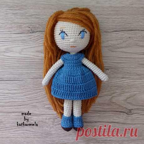 Кукла крючком для начинающих: связана единым полотном из хлопковой пряжи, рост 18 см, без каркаса, подходит для детей.
