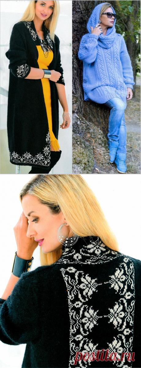 Теплые свитеры оверсайз, пальто и свитер с орнаментом, белое платье - модели спицами из журнала Мод   Ирина СНежная & Вязание   Яндекс Дзен