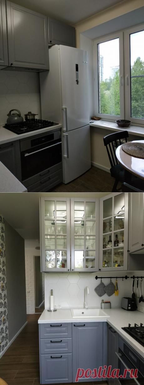 Уютная 5- метровая кухня с холодильником. | Хочу такой ремонт | Яндекс Дзен