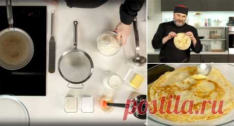 Как сделать тонкие блины на молоке Подробно показывает Олег Ольхов, знаток традиционной русской кухни